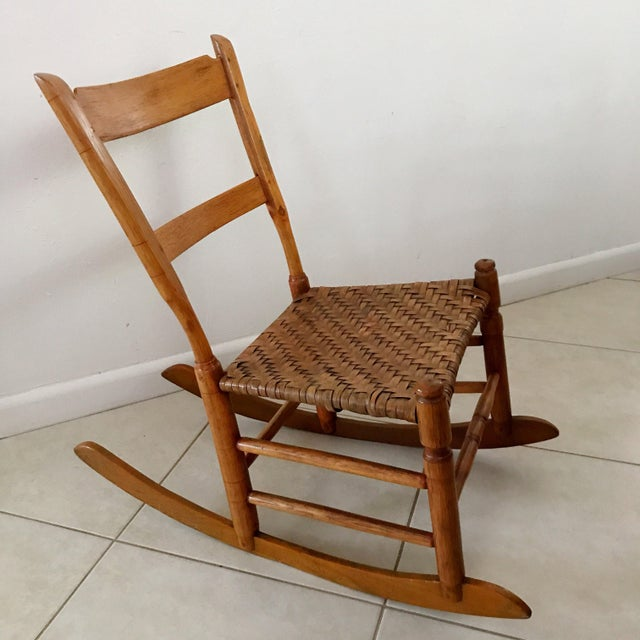 Late 19th Century Antique New England Armless Rocker Sewing Rocking Chair  For Sale - Image 5 - Antique New England Armless Rocker Sewing Rocking Chair Chairish