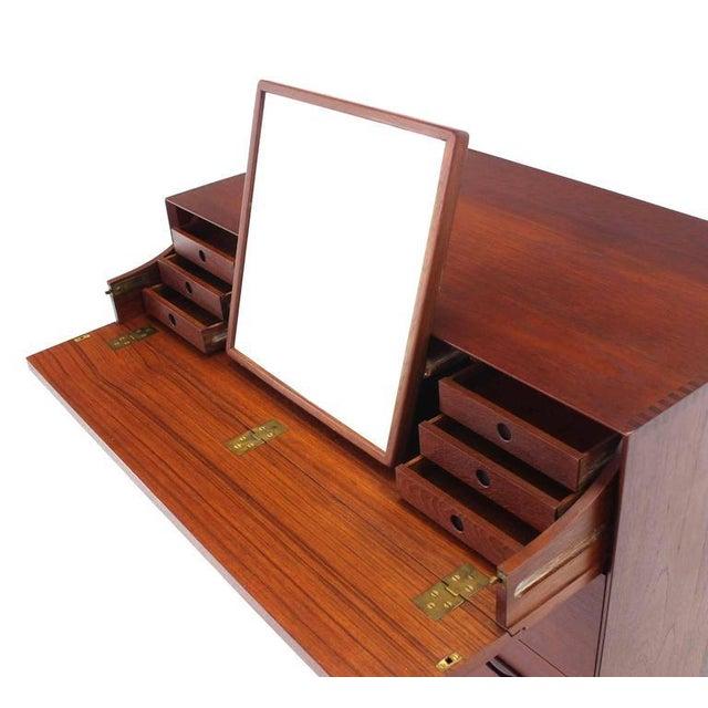 Wood Piter Hvidt Solid Teak Concealed Vanity Mirror Chest For Sale - Image 7 of 9