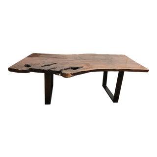 Custom Black Walnut Live Edge Slab + Metal Table For Sale