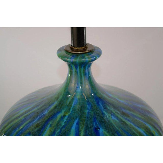 Mid 20th Century Blue Green Glaze Mid Century Table Lamp For Sale - Image 5 of 7