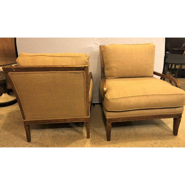 Hollywood Regency Pair of Burlap Faux Marbleized Bergère or Armchairs For Sale - Image 12 of 13