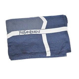 1970s Hollywood Regency Blue and White Ysl Yves Saint Laurent Woven Throw Blanket For Sale