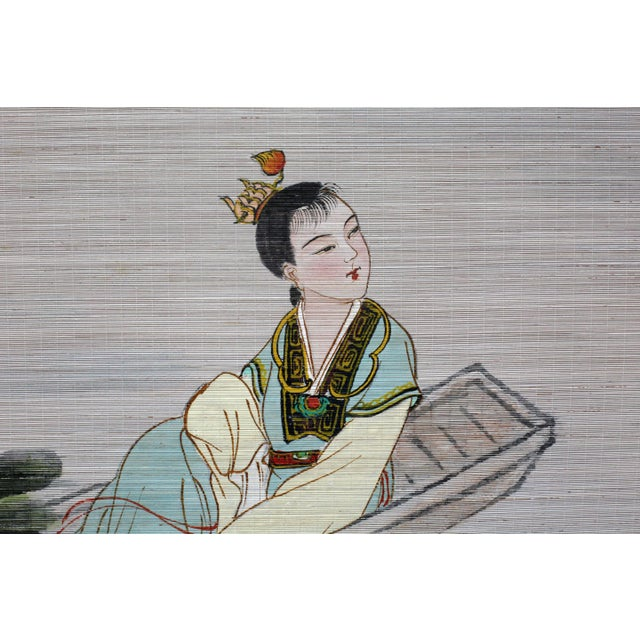 Large Painting of Asian Ladies in a Pagoda and Lake Scene For Sale - Image 9 of 13