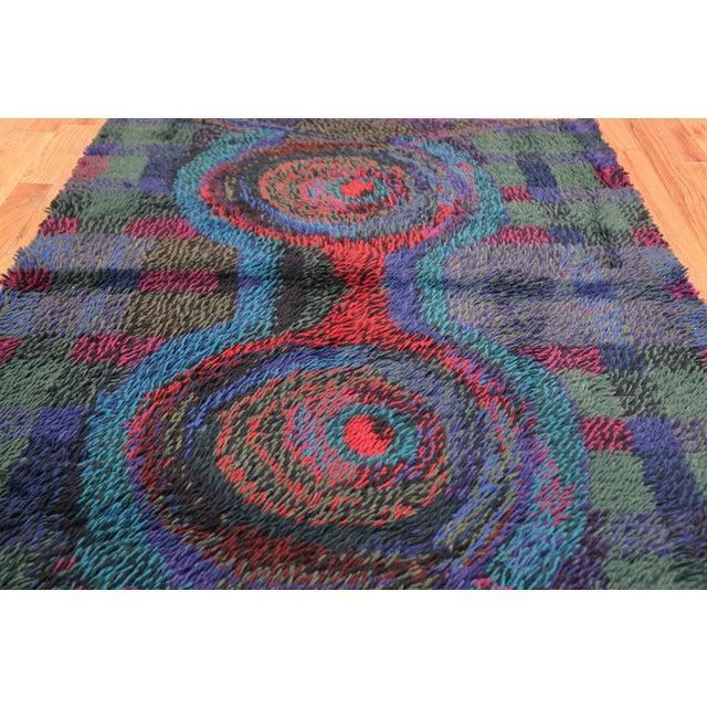 Textile Vintage Scandinavian Rya Rug by Ritva Puotila - 4′5″ × 5′10″ For Sale - Image 7 of 10