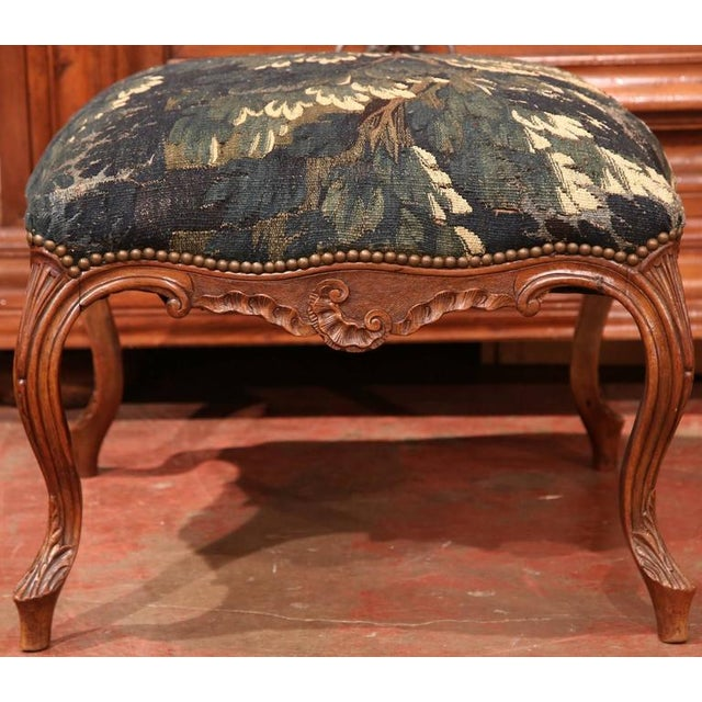 Add beautiful color to your living spaces with this exquisite, antique Louis XV carved stool from Lyon, France, circa...