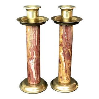 Mid-Century Brass & Marble Candle Holders - a Pair For Sale