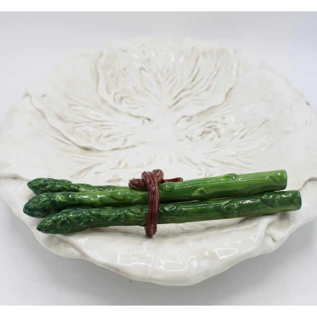 Mid Century Italian Ceramic White Cabbage Leaf and Asparagus Platter For Sale - Image 9 of 13