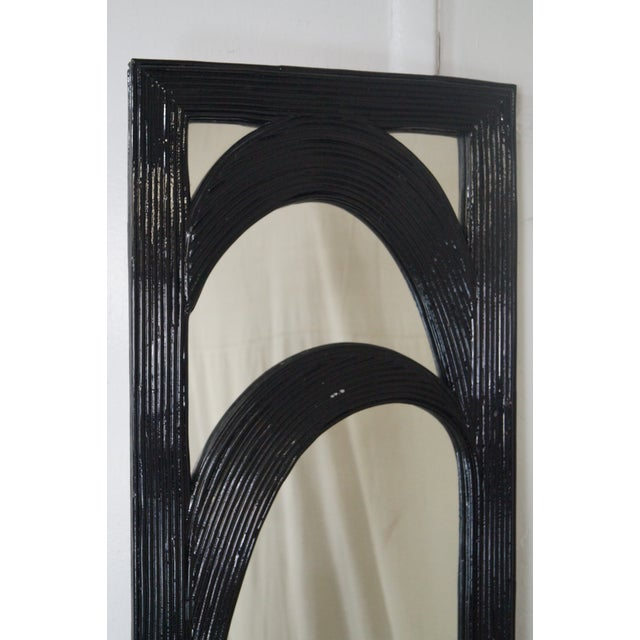 Mid-Century Black Painted Reeded Design Mirrors - A Pair For Sale - Image 10 of 10