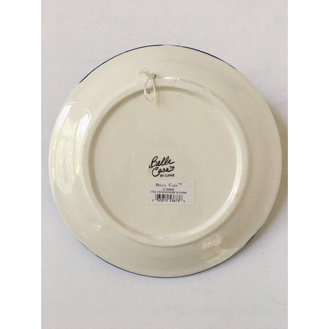 White Trompe l'Oeil Decorative Blue Plaid Peach Plate For Sale - Image 8 of 10