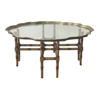 Hollywood Regency Faux Bamboo Brass Pie Crust Coffee Table For Sale