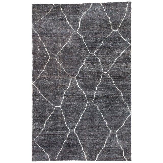 Jaipur Living Carmine Handmade Geometric Dark Gray/ Blue Area Rug - 5′ × 8′ For Sale