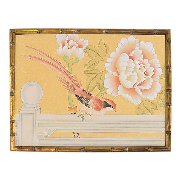 "1970's Chinoiserie Painting ""Pheasant on Fence"" Framed in Gold-Leafed Faux Bamboo For Sale"