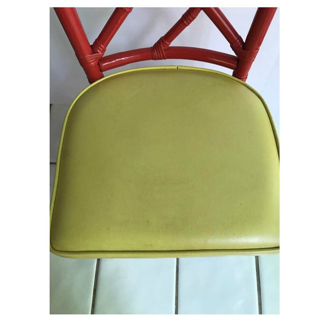 Mid-Century Modern Chinese Chippendale Dia Bamboo Red Side Chairs - Set of 4 For Sale In New York - Image 6 of 7