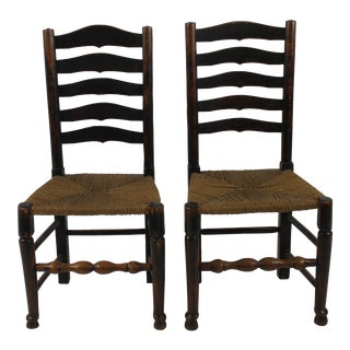 English Period Ladder Back Side Chairs- A Pair For Sale