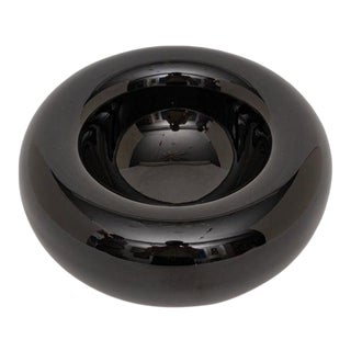 Black Glass Dish by Charles Pfister for Knoll International For Sale