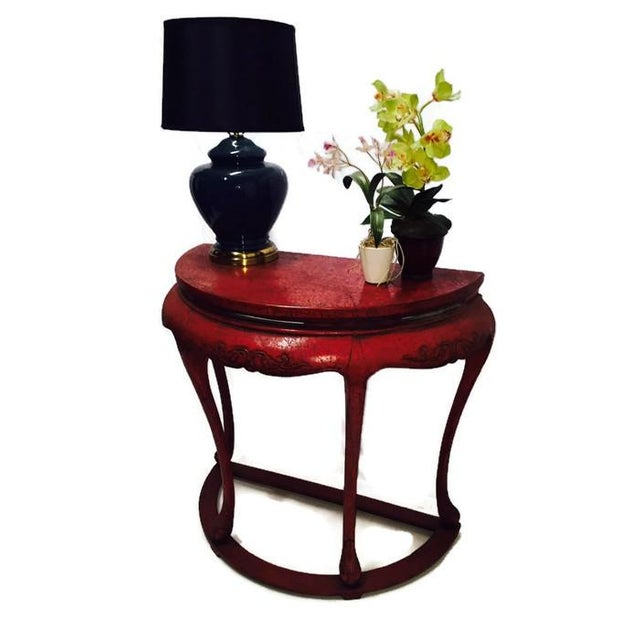 Chinoiserie Red Demilune Console Tables - a Pair - Image 4 of 10