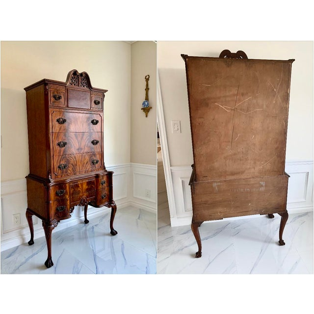Antique Ca 1900's Georgian Chippendale English Style Mahogany Claw Feet Highboy Dresser For Sale - Image 9 of 13