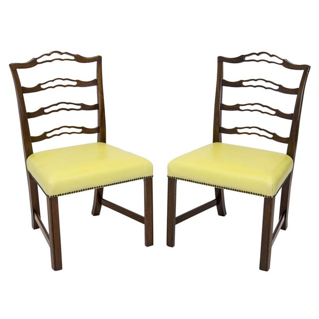 Chippendale Mahogany Ladder Back Side Chairs, a Pair For Sale - Image 3 of 8
