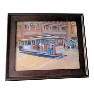 "1968 ""San Francisco Trolley"" Signed Oil Painting For Sale"