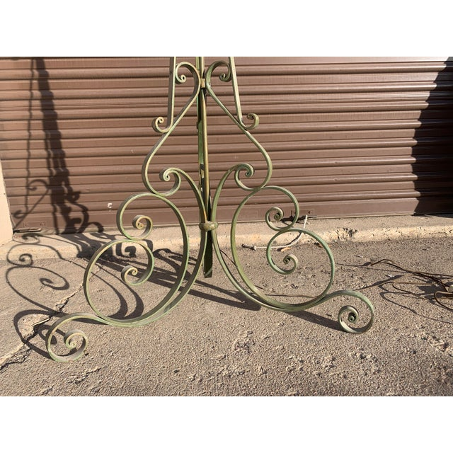 1920s Antique French Green Wrought Iron Floor Lamp For Sale - Image 10 of 13