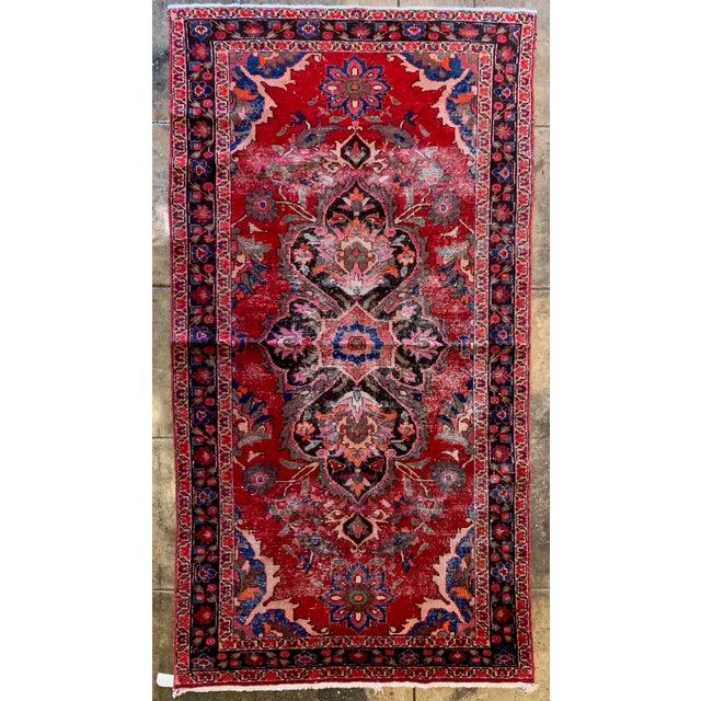 "Textile Rich Tones Vintage Persian Area Rug - 9' 8.5"" X 5' For Sale - Image 7 of 7"