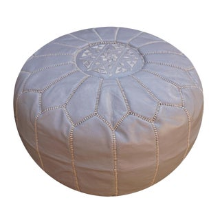 Modern Gray Moroccan Handmade Leather Pouf For Sale