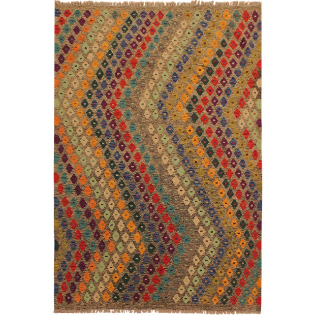 Abstract Southwestern Tribal Manuel Gray/Blue Hand-Woven Kilim Wool Rug -5'0 X 6'8 For Sale