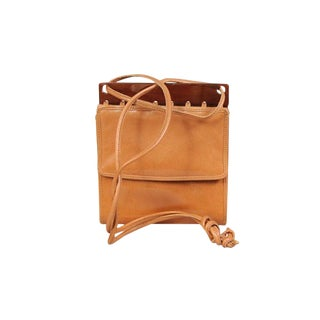 Bottega Veneta Caramel Leather and Bronze Lucite Crossbody Bag For Sale