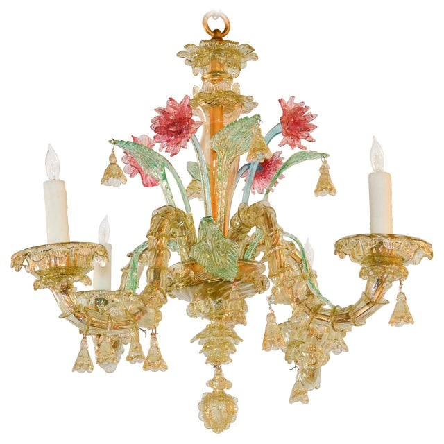 Blown Glass Antique Italian Murano Multi-Color Chandelier For Sale - Image 7 of 7