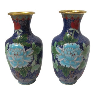 Vintage Cobalt Blue Flowered Chinoiserie Cloisonné Vases - a - Pair For Sale