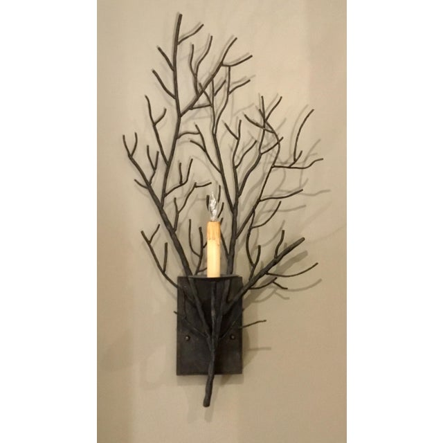 Stylish Organic Modern Iron Branch Wall Sconces Pair, showroom floor sample, original retail $1296