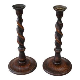 Antique English Barley Twist Oak Candle Sticks - a Pair