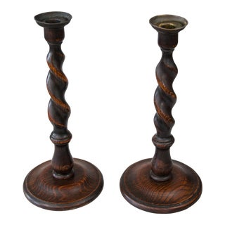 Antique English Barley Twist Oak Candlesticks - a Pair