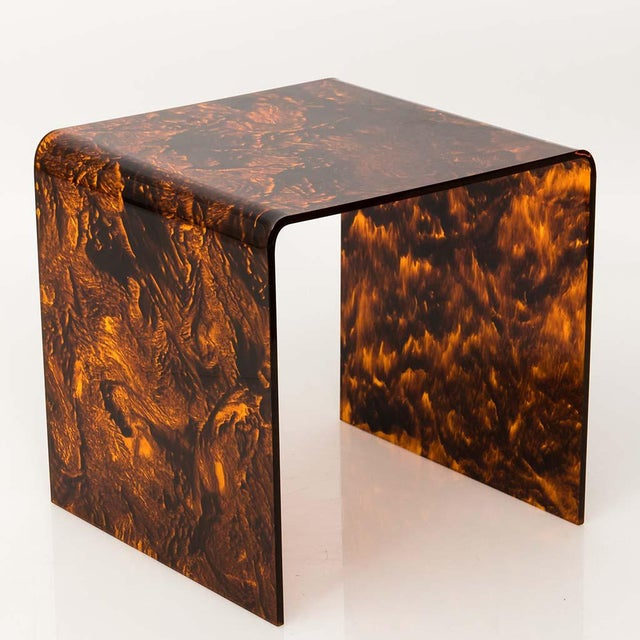 Mid 20th Century Faux Tortoise Lucite Tables For Sale - Image 5 of 13