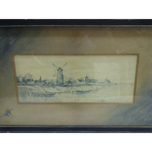 American Circa 1890 The Windmill Drawing by Georgie Lacock For Sale - Image 3 of 6