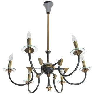 1950s Maison Lunel French Moderne Patinated Brass Chandelier For Sale