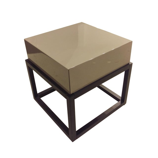 Stone Gloss and Dark Oak Side Table - Image 2 of 3