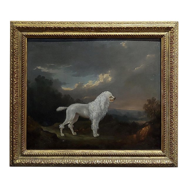 18th Century Portrait of White Poodle in a Landscape Oil Painting For Sale