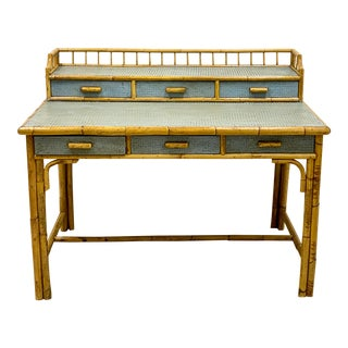 1970s Painted Bamboo Desk For Sale