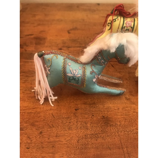 1970s Children's Embroidered Satin Horse Christmas Ornaments - Set of 5 For Sale - Image 4 of 10
