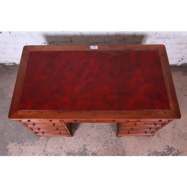 Animal Skin Harden Sleepy Hollow Collection Leather Top Partner Desk For Sale - Image 7 of 12