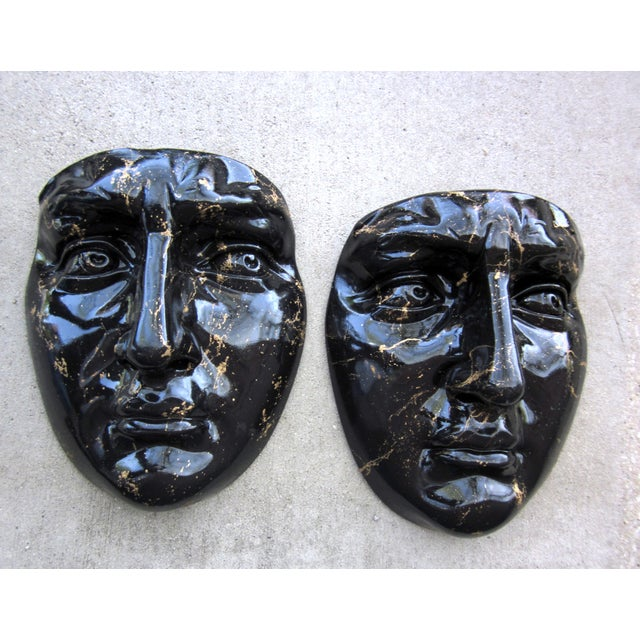 Late 20th Century Black and Gold Splatter Paint Plaster Face Mask Wall Sculptures - a Pair Fornasetti Style For Sale - Image 11 of 11