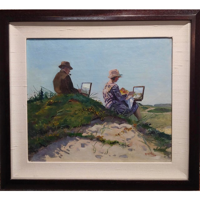 Henri Vos -Two Artists on the Dunes -Impressionist -Oil painting c1910s oil painting on canvas -Signed circa 1909 frame...