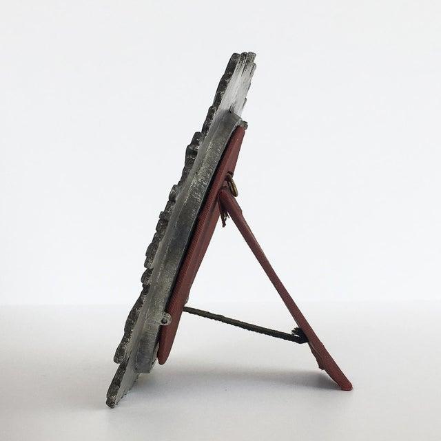 Brutalist Starburst Pewter Frame or Mirror For Sale - Image 4 of 9