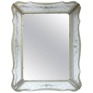 1950s Mid-Century Modern Wavy Edge Deco Clear Etched Wall Mirror For Sale