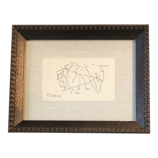 Original Vintage Robert Cooke Miniature Abstract Ink Drawing 1970's For Sale