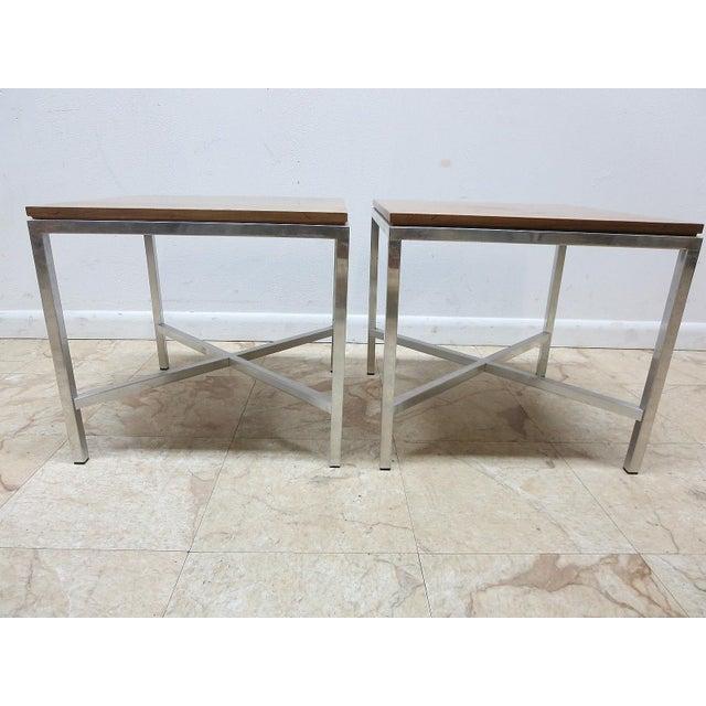 Tomlinson Milo Baughman Mid-Century Walnut Aluminum End Tables - A Pair For Sale - Image 5 of 8