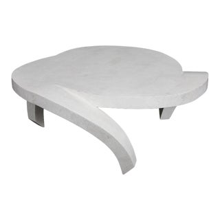 """1990s Post-Modern Tessellated White Stone """"Hurricane"""" Coffee Table For Sale"""