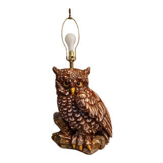 1970s High Gloss Ceramic Rustic Owl Table Lamp For Sale