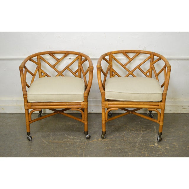 Rattan McGuire Style Rattan Bamboo Barrel Back Club Chairs - a Pair For Sale - Image 7 of 13
